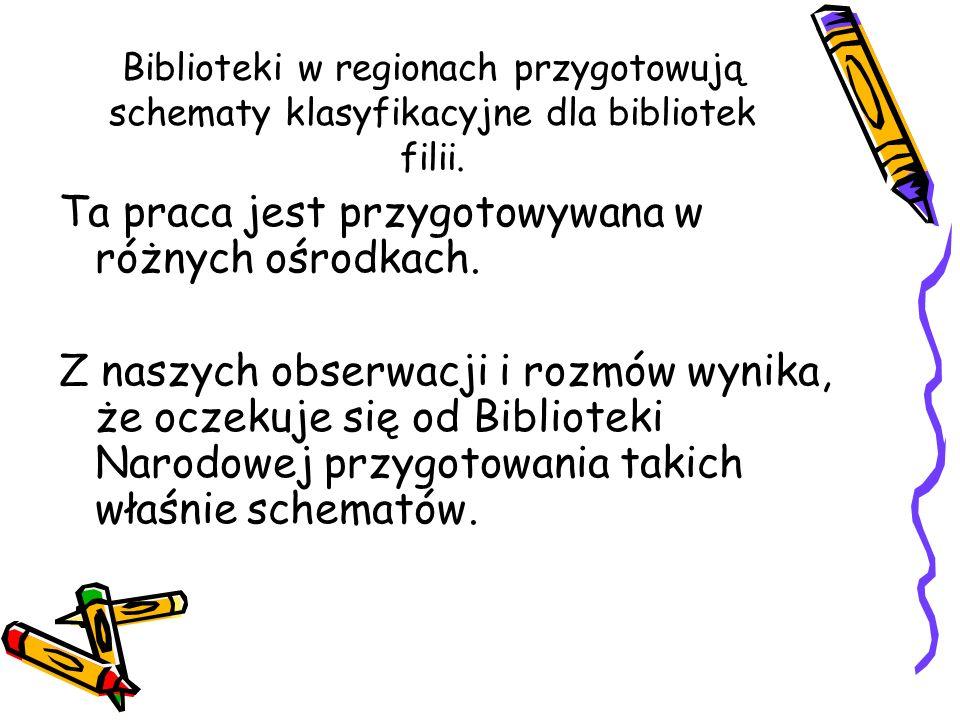 Biblioteki w regionach przygotowują schematy klasyfikacyjne dla bibliotek filii. Ta praca jest przygotowywana w różnych ośrodkach. Z naszych obserwacj