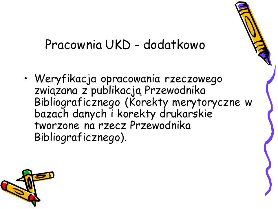 Pracownia UKD - dodatkowo Weryfikacja opracowania rzeczowego związana z publikacją Przewodnika Bibliograficznego (Korekty merytoryczne w bazach danych