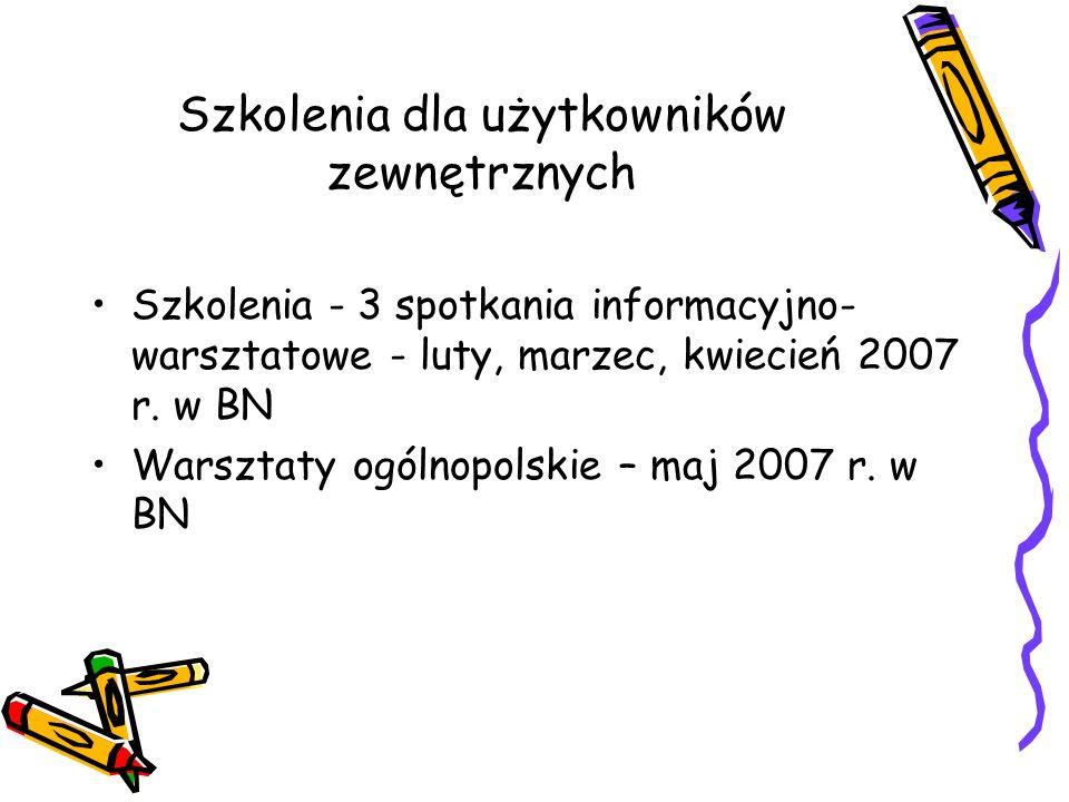Szkolenia dla użytkowników zewnętrznych Szkolenia - 3 spotkania informacyjno- warsztatowe - luty, marzec, kwiecień 2007 r. w BN Warsztaty ogólnopolski