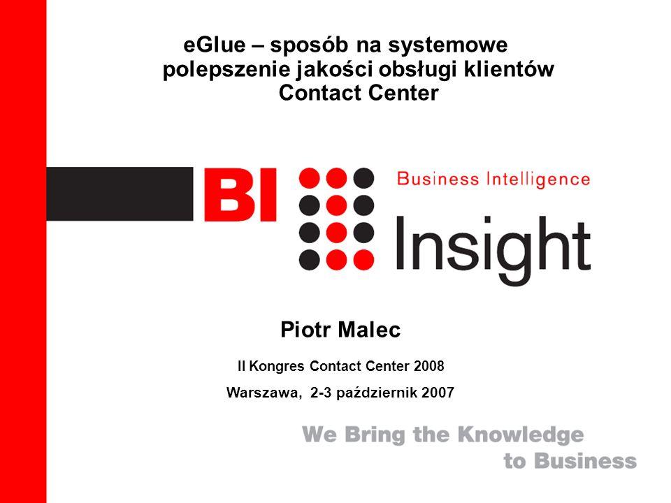1 eGlue – sposób na systemowe polepszenie jakości obsługi klientów Contact Center Piotr Malec II Kongres Contact Center 2008 Warszawa, 2-3 październik 2007