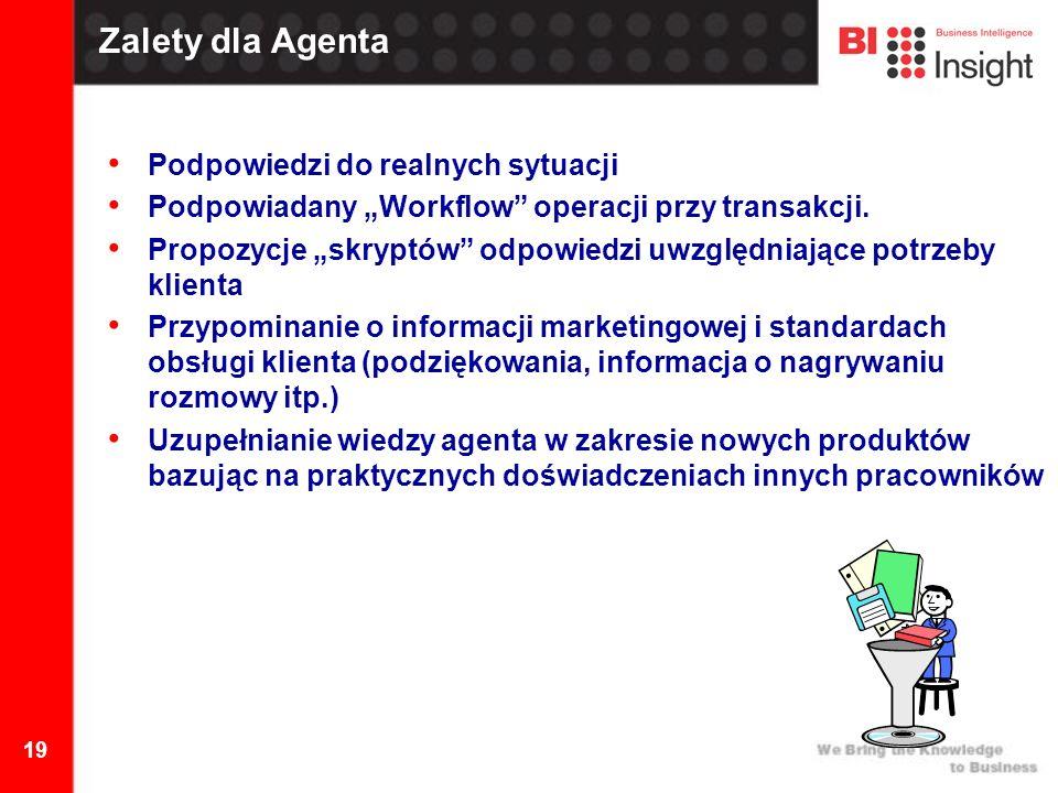 19 Zalety dla Agenta Podpowiedzi do realnych sytuacji Podpowiadany Workflow operacji przy transakcji.
