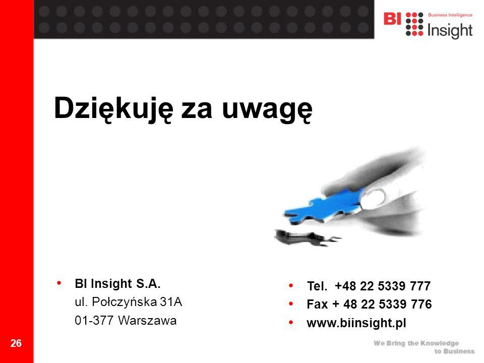 26 Dziękuję za uwagę BI Insight S.A. ul. Połczyńska 31A 01-377 Warszawa Tel.