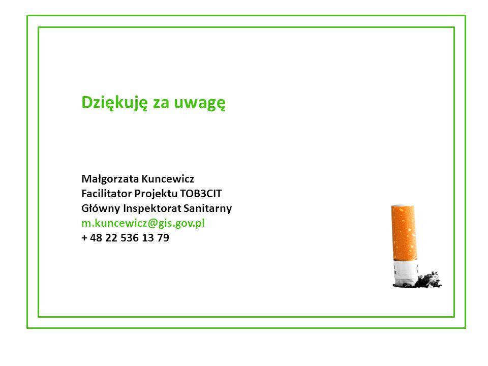 Dziękuję za uwagę Małgorzata Kuncewicz Facilitator Projektu TOB3CIT Główny Inspektorat Sanitarny m.kuncewicz@gis.gov.pl + 48 22 536 13 79