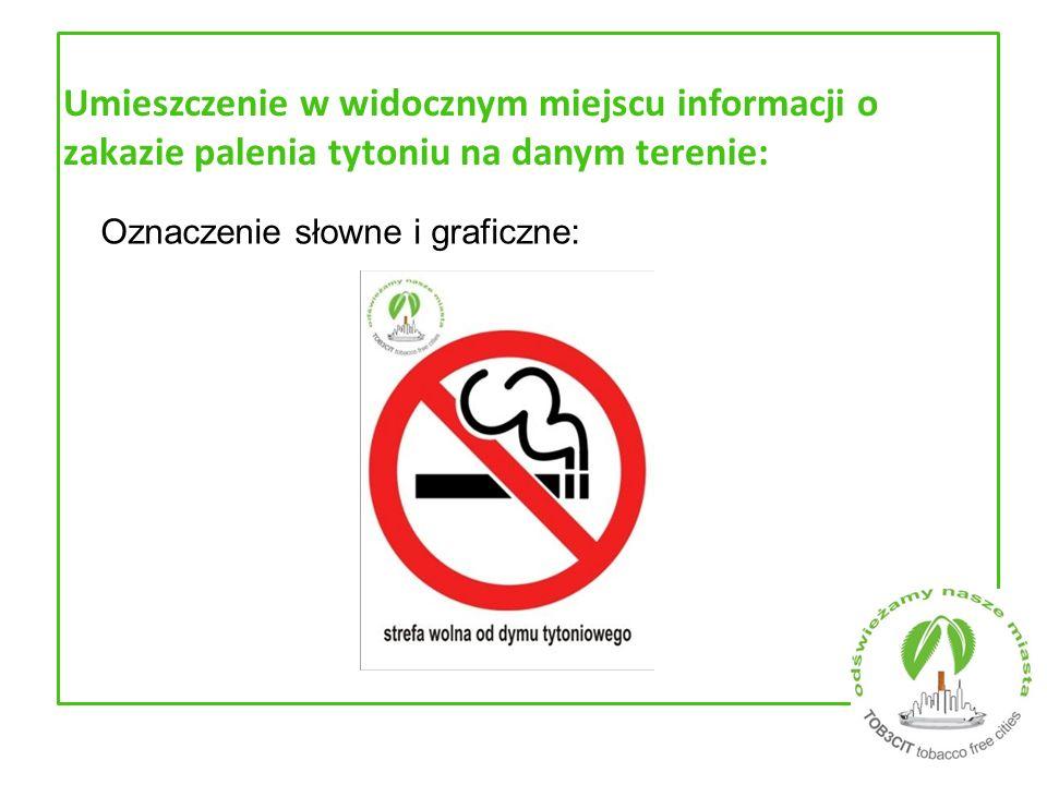 Umieszczenie w widocznym miejscu informacji o zakazie palenia tytoniu na danym terenie: Oznaczenie słowne i graficzne: