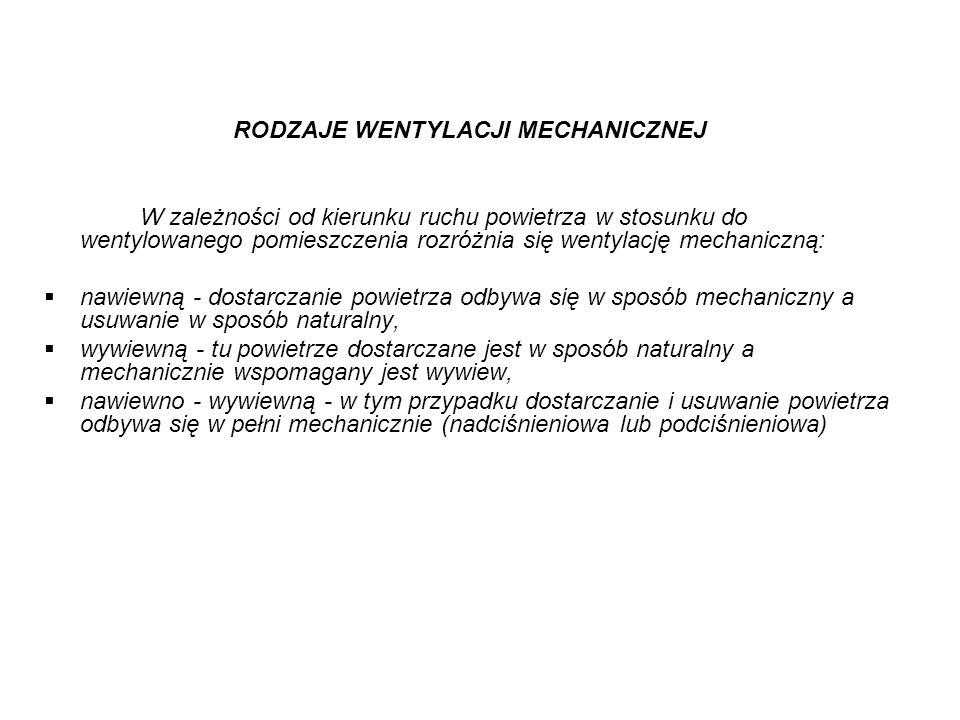 RODZAJE WENTYLACJI MECHANICZNEJ W zależności od kierunku ruchu powietrza w stosunku do wentylowanego pomieszczenia rozróżnia się wentylację mechaniczn