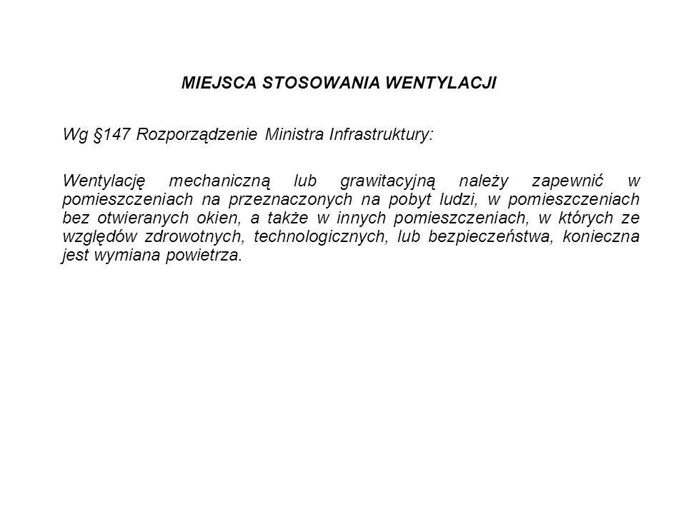 MIEJSCA STOSOWANIA WENTYLACJI Wg §147 Rozporządzenie Ministra Infrastruktury: Wentylację mechaniczną lub grawitacyjną należy zapewnić w pomieszczeniac