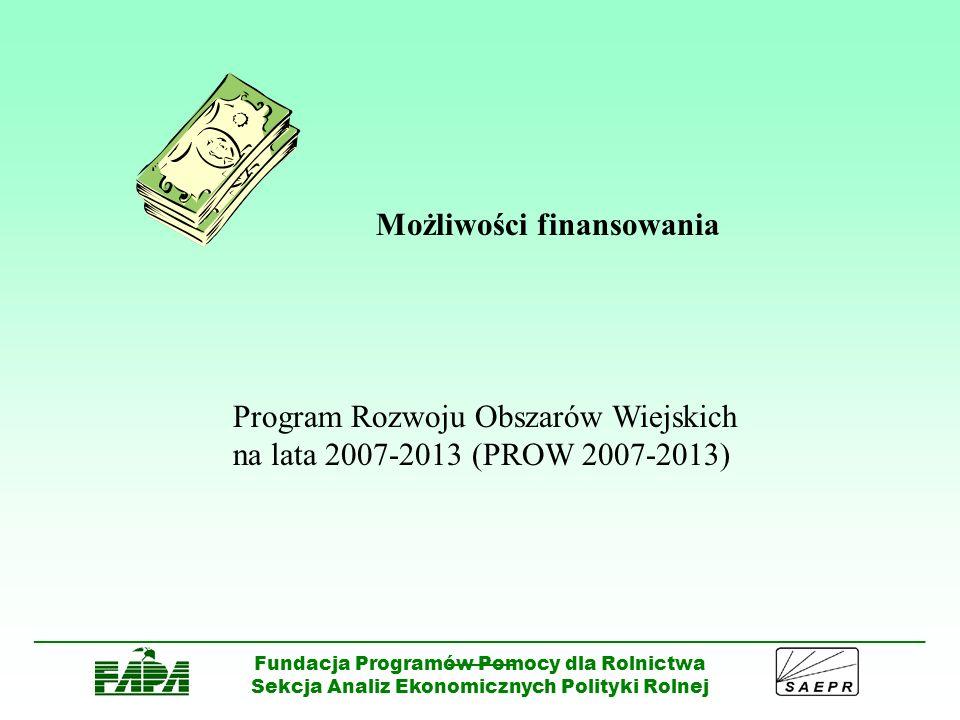 ______________________________________________________________________________________ ______ Fundacja Programów Pomocy dla Rolnictwa Sekcja Analiz Ekonomicznych Polityki Rolnej PROW OŚ 3 Różnicowanie w kierunku działalności nierolniczej Forma i wysokość pomocy Pomoc ma formę zwrotu 50% kosztów kwalifikowalnych operacji.