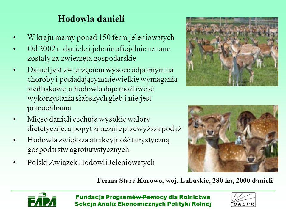 ______________________________________________________________________________________ ______ Fundacja Programów Pomocy dla Rolnictwa Sekcja Analiz Ekonomicznych Polityki Rolnej Hodowla alpak W Polsce hodowle dopiero powstają Włókno alpak jest trzy razy trwalsze i sześć razy cieplejsze od wełny owczej; jest produktem rzadkim, luksusowym i osiąga wysoką cenę na światowym rynku Chude mięso, zawierające mało cholesterolu i przypominające w smaku dziczyznę, zdobywa coraz większe uznanie na rynku europejskim Rośnie popyt na zwierzęta wysokiej jakości, które ze względu na niedobór osiągają bardzo wysokie ceny Biznes dla ludzi którzy nie spodziewają się zysków w bardzo szybkim terminie Jako maskotki w gospodarstwach agroturystycznych