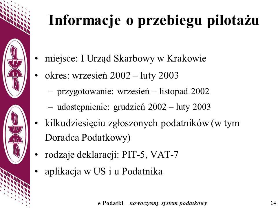 14 e-Podatki – nowoczesny system podatkowy 14 Informacje o przebiegu pilotażu miejsce: I Urząd Skarbowy w Krakowie okres: wrzesień 2002 – luty 2003 –przygotowanie: wrzesień – listopad 2002 –udostępnienie: grudzień 2002 – luty 2003 kilkudziesięciu zgłoszonych podatników (w tym Doradca Podatkowy) rodzaje deklaracji: PIT-5, VAT-7 aplikacja w US i u Podatnika