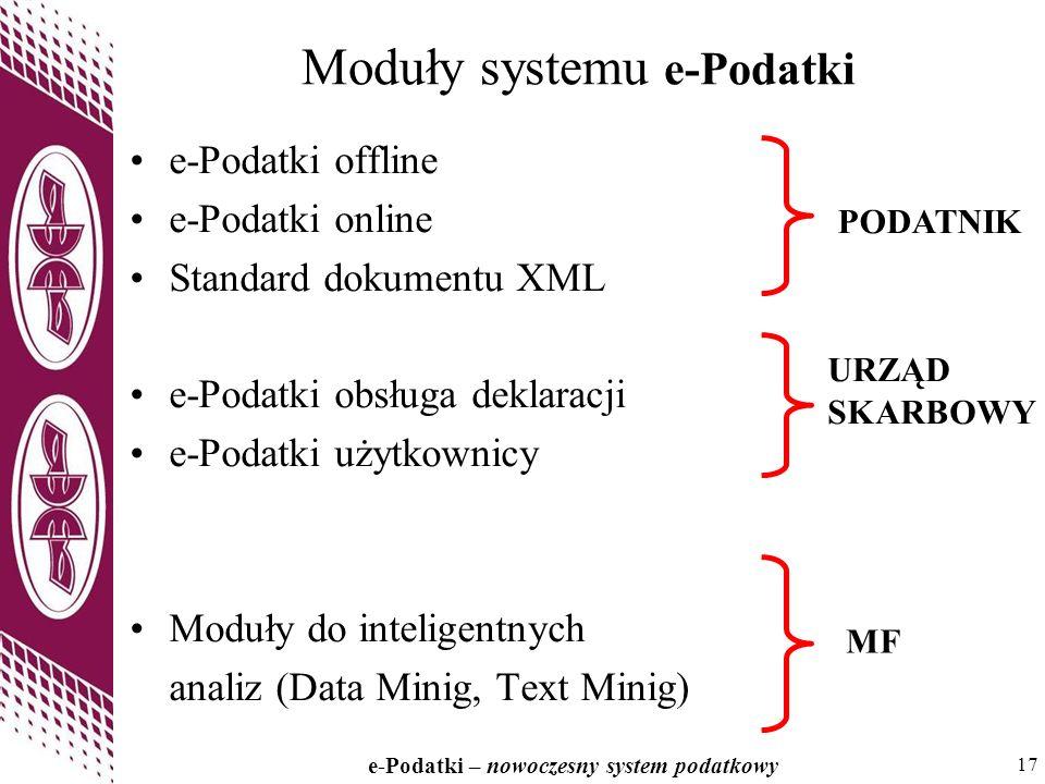17 e-Podatki – nowoczesny system podatkowy 17 Moduły systemu e-Podatki e-Podatki offline e-Podatki online Standard dokumentu XML e-Podatki obsługa deklaracji e-Podatki użytkownicy Moduły do inteligentnych analiz (Data Minig, Text Minig) PODATNIK URZĄD SKARBOWY MF