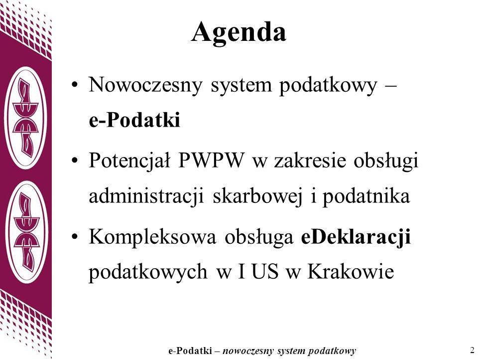 2 e-Podatki – nowoczesny system podatkowy 2 Agenda Nowoczesny system podatkowy – e-Podatki Potencjał PWPW w zakresie obsługi administracji skarbowej i podatnika Kompleksowa obsługa eDeklaracji podatkowych w I US w Krakowie