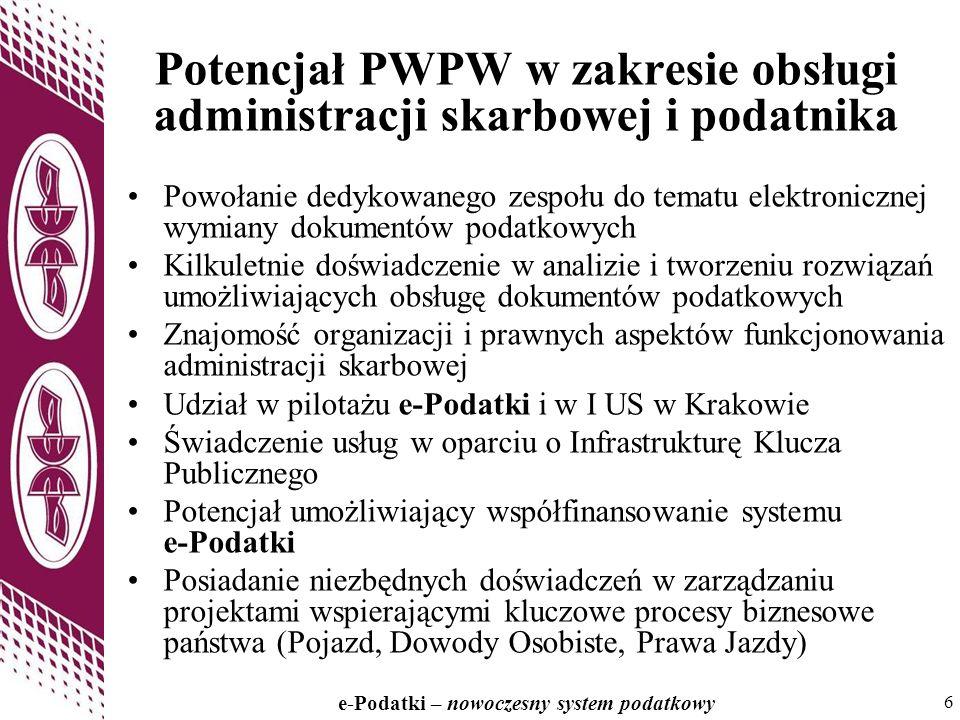 6 e-Podatki – nowoczesny system podatkowy 6 Potencjał PWPW w zakresie obsługi administracji skarbowej i podatnika Powołanie dedykowanego zespołu do te