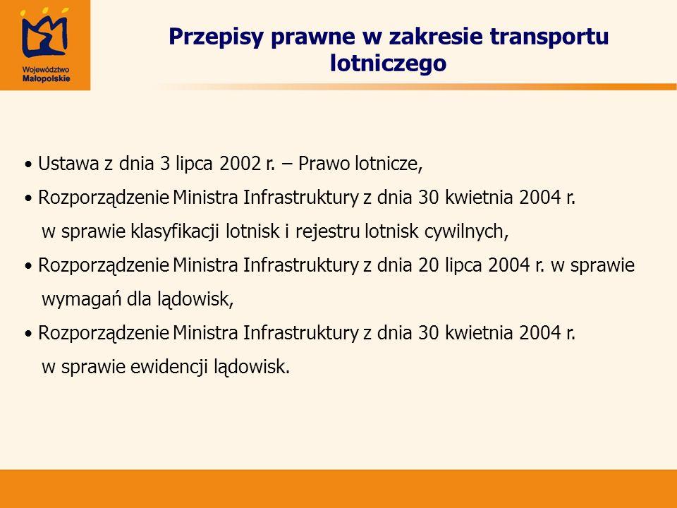 Przepisy prawne w zakresie transportu lotniczego Ustawa z dnia 3 lipca 2002 r. – Prawo lotnicze, Rozporządzenie Ministra Infrastruktury z dnia 30 kwie