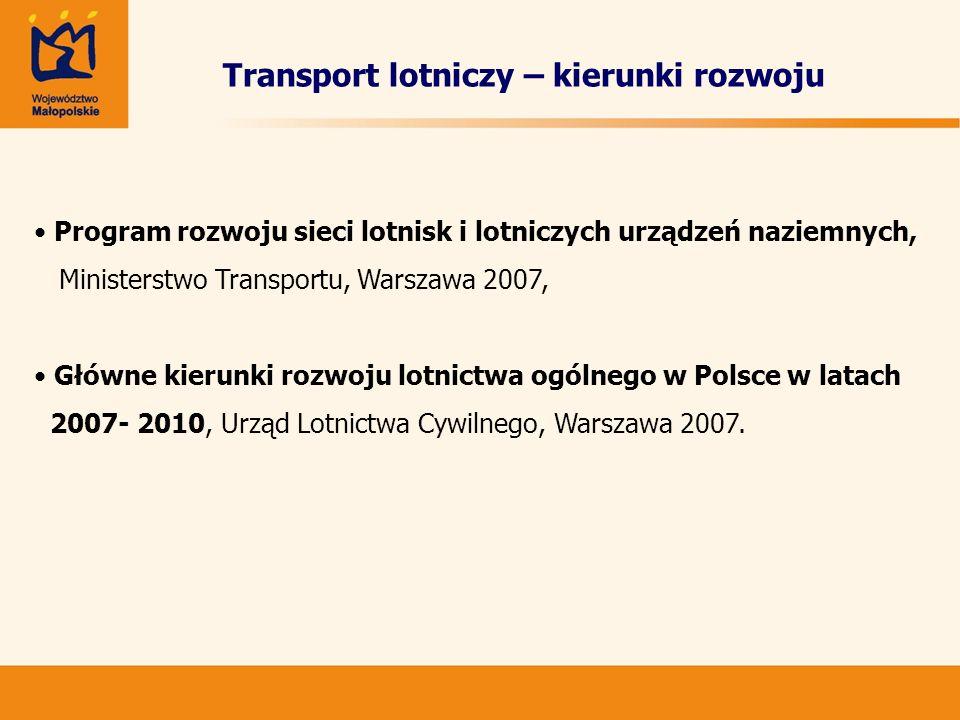 Transport lotniczy – kierunki rozwoju Program rozwoju sieci lotnisk i lotniczych urządzeń naziemnych, Ministerstwo Transportu, Warszawa 2007, Główne k