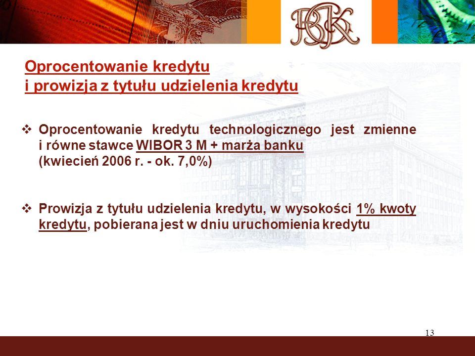 13 Oprocentowanie kredytu i prowizja z tytułu udzielenia kredytu Oprocentowanie kredytu technologicznego jest zmienne i równe stawce WIBOR 3 M + marża banku (kwiecień 2006 r.