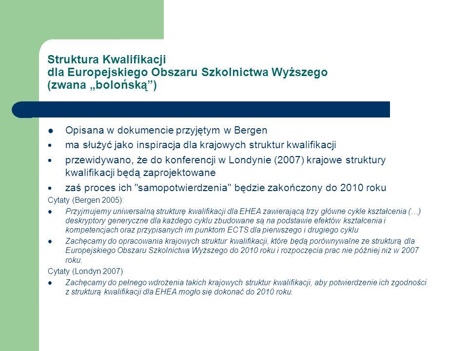 Struktura Kwalifikacji dla Europejskiego Obszaru Szkolnictwa Wyższego (zwana bolońską) Opisana w dokumencie przyjętym w Bergen ma służyć jako inspiracja dla krajowych struktur kwalifikacji przewidywano, że do konferencji w Londynie (2007) krajowe struktury kwalifikacji będą zaprojektowane zaś proces ich samopotwierdzenia będzie zakończony do 2010 roku Cytaty (Bergen 2005): Przyjmujemy uniwersalną strukturę kwalifikacji dla EHEA zawierającą trzy główne cykle kształcenia (…) deskryptory generyczne dla każdego cyklu zbudowane są na podstawie efektów kształcenia i kompetencjach oraz przypisanych im punktom ECTS dla pierwszego i drugiego cyklu Zachęcamy do opracowania krajowych struktur kwalifikacji, które będą porównywalne ze strukturą dla Europejskiego Obszaru Szkolnictwa Wyższego do 2010 roku i rozpoczęcia prac nie później niż w 2007 roku.