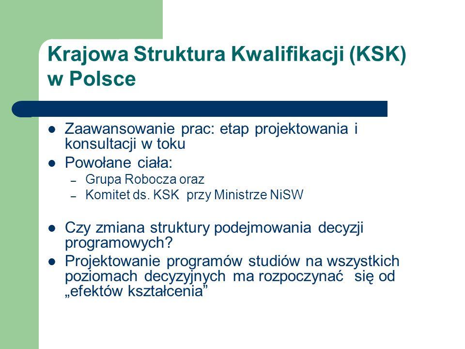 Krajowa Struktura Kwalifikacji (KSK) w Polsce Zaawansowanie prac: etap projektowania i konsultacji w toku Powołane ciała: – Grupa Robocza oraz – Komitet ds.