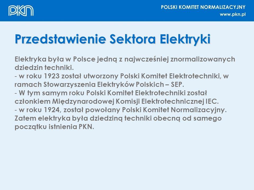 Przedstawienie Sektora Elektryki Elektryka była w Polsce jedną z najwcześniej znormalizowanych dziedzin techniki. - w roku 1923 został utworzony Polsk