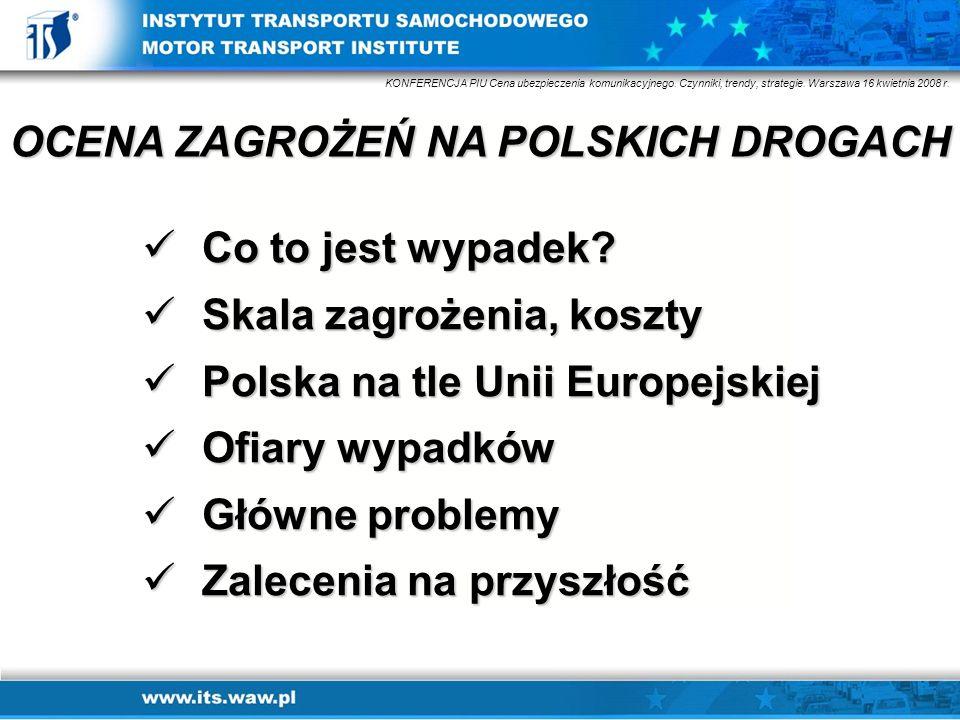 Co to jest wypadek? Co to jest wypadek? Skala zagrożenia, koszty Skala zagrożenia, koszty Polska na tle Unii Europejskiej Polska na tle Unii Europejsk