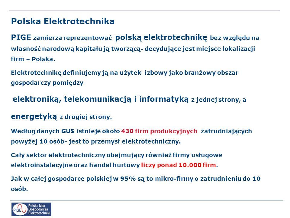 Polska Elektrotechnika PIGE zamierza reprezentować polską elektrotechnikę bez względu na własność narodową kapitału ją tworzącą- decydujące jest miejsce lokalizacji firm – Polska.