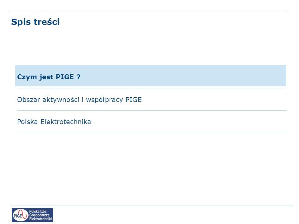 Spis treści Polska Elektrotechnika Czym jest PIGE ? Obszar aktywności i współpracy PIGE