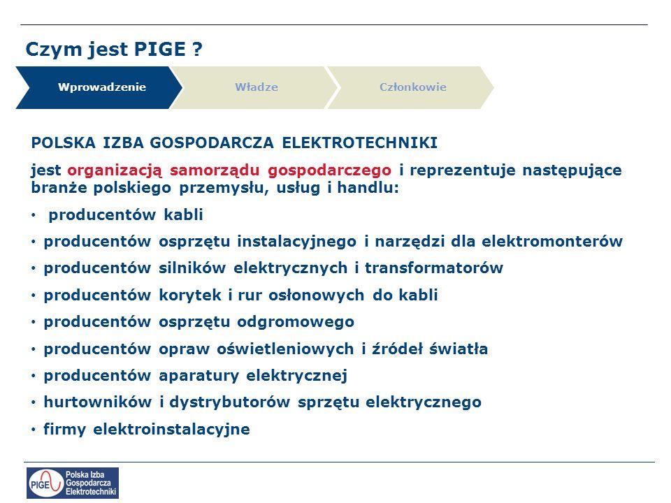 Czym jest PIGE ? POLSKA IZBA GOSPODARCZA ELEKTROTECHNIKI jest organizacją samorządu gospodarczego i reprezentuje następujące branże polskiego przemysł