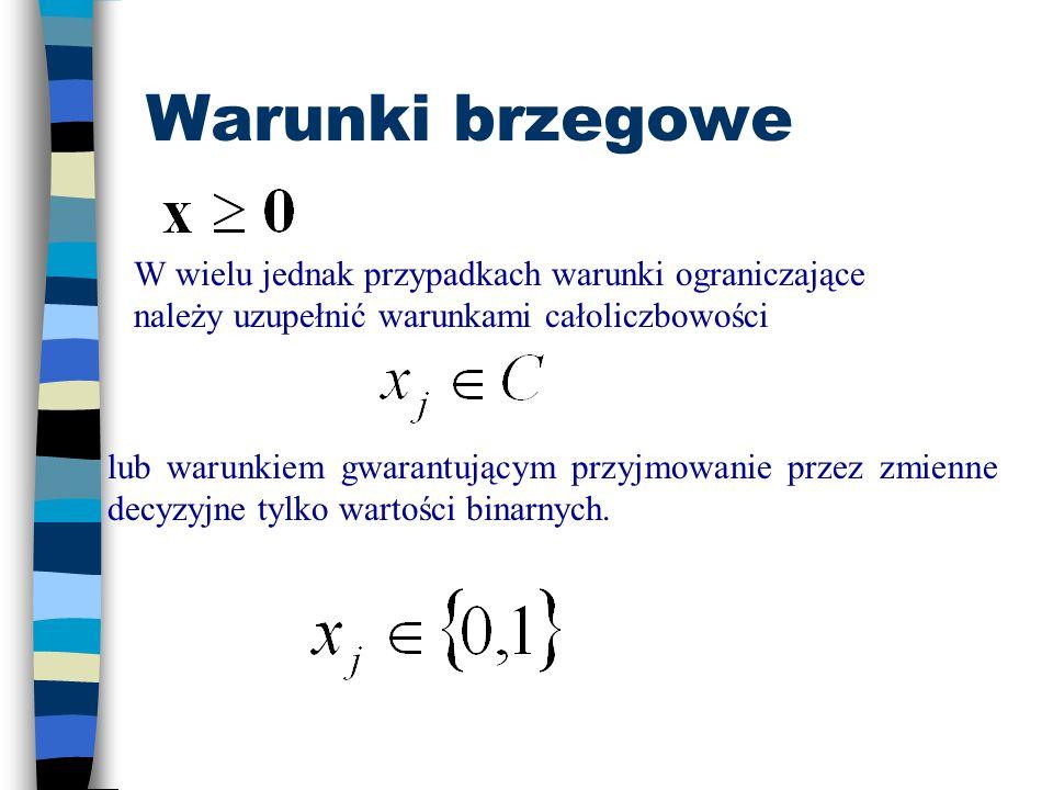 macierz parametrów (np. normatywy zużycia i-tego surowaca i=1,...,m na jednostkę j-tego wyrobu j=1,2,...,n), wektor ograniczeń (np. b i - zasób i-tego