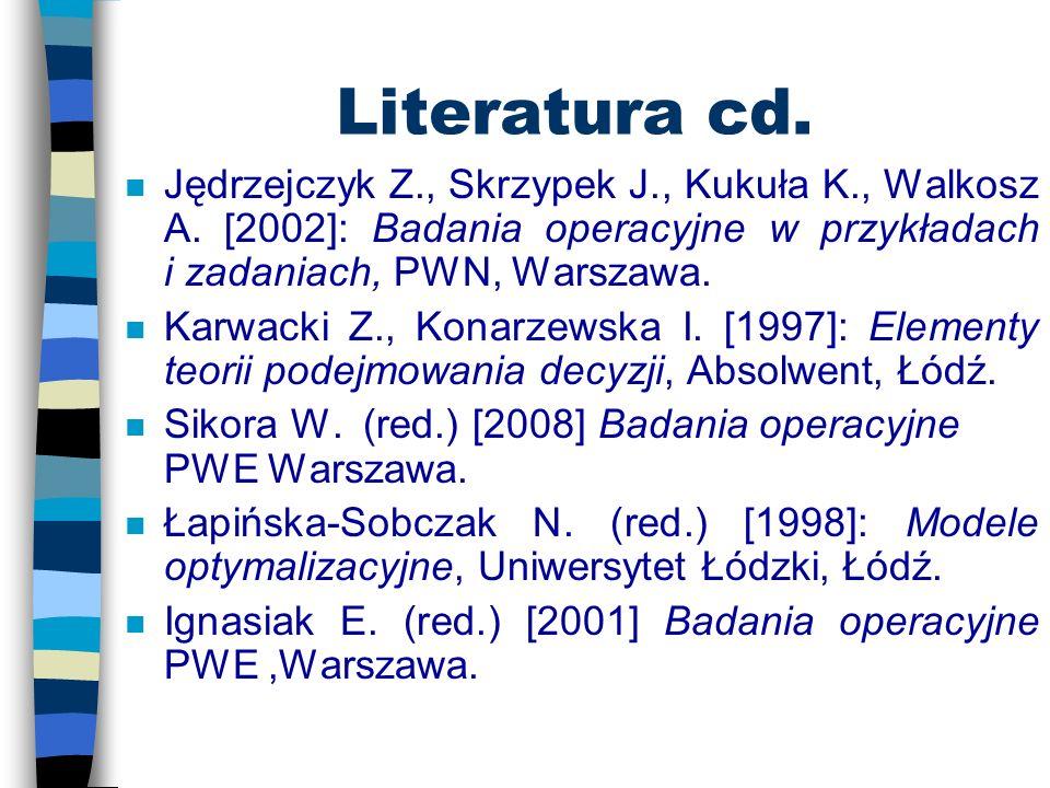 Literatura n Krawczyk S. Metody ilościowe w logistyce, C.H.Beck, Warszawa 2001. n Krawczyk S. Metody ilościowe w planowaniu, C.H.Beck, Warszawa 2001.