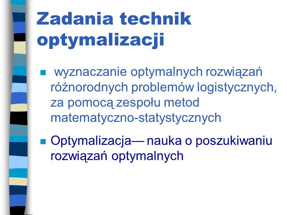 Techniki optymalizacji 1. Sterowaniu procesem logistycznym 2. Prognozowaniu zaopatrzenia 3. Symulacji popytu niezależnego 4. Procesach decyzyjnych 5.