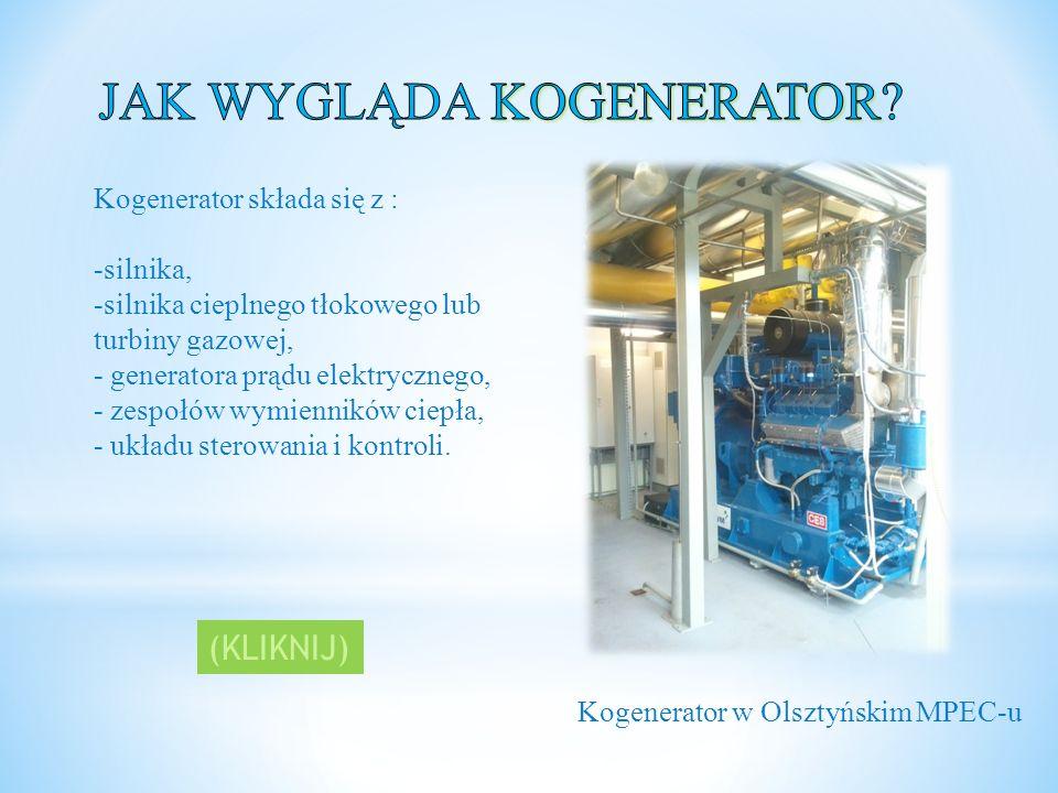 Kogenerator składa się z : -silnika, -silnika cieplnego tłokowego lub turbiny gazowej, - generatora prądu elektrycznego, - zespołów wymienników ciepła