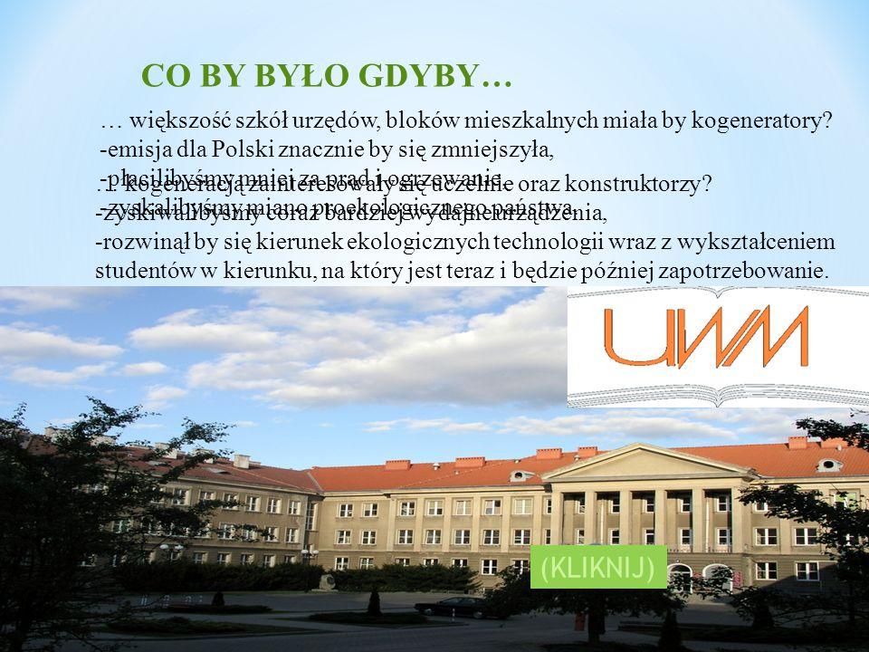 CO BY BYŁO GDYBY… … większość szkół urzędów, bloków mieszkalnych miała by kogeneratory? -emisja dla Polski znacznie by się zmniejszyła, -płacilibyśmy