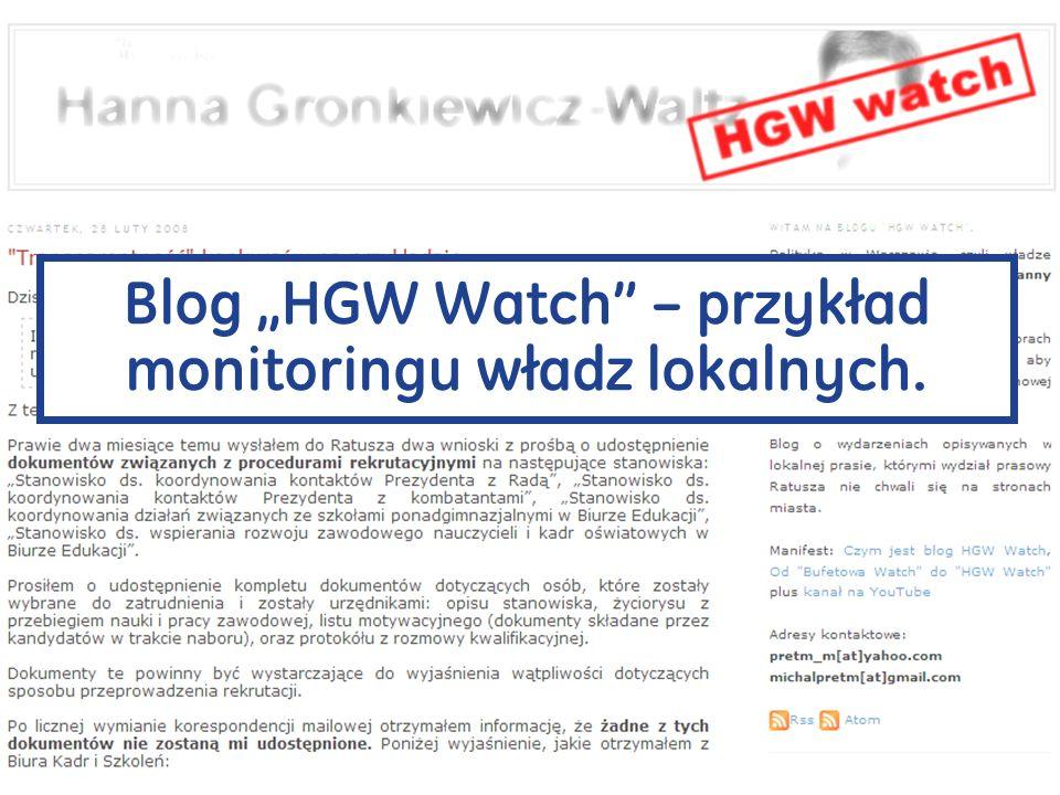 Blog HGW Watch – przykład monitoringu władz lokalnych.