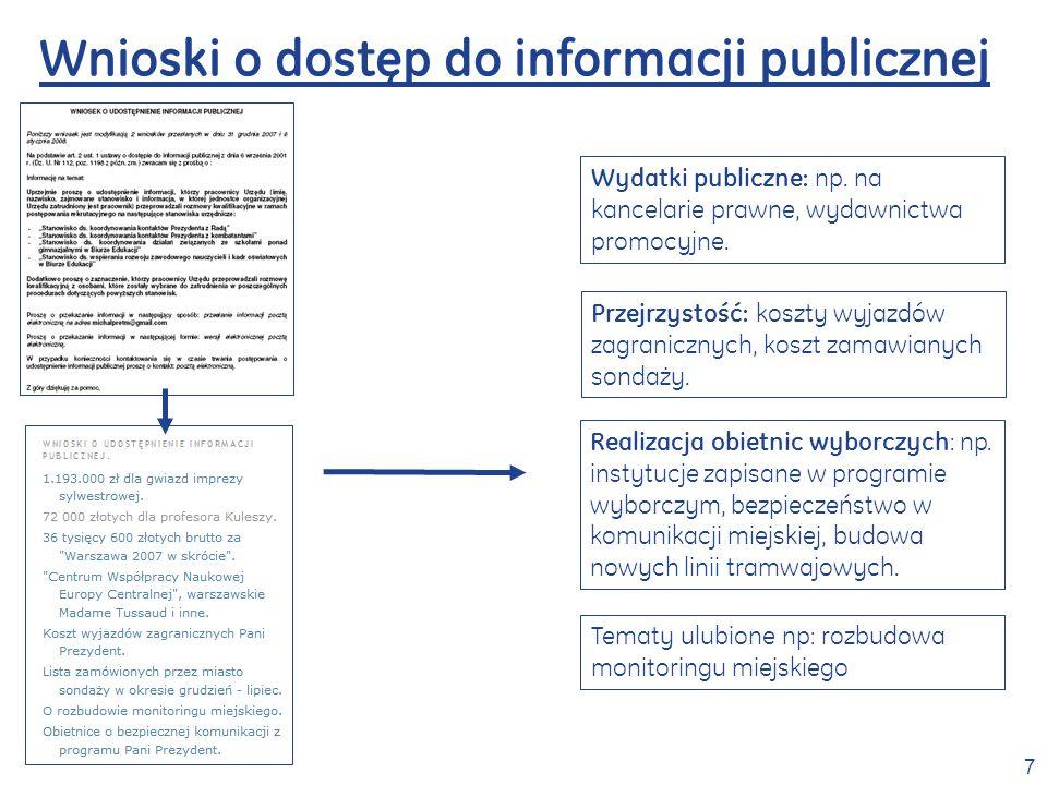 7 Wnioski o dostęp do informacji publicznej Wydatki publiczne: np.