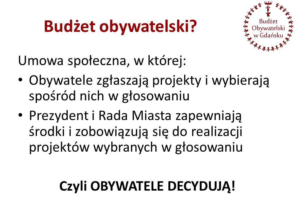 Umowa społeczna, w której: Obywatele zgłaszają projekty i wybierają spośród nich w głosowaniu Prezydent i Rada Miasta zapewniają środki i zobowiązują