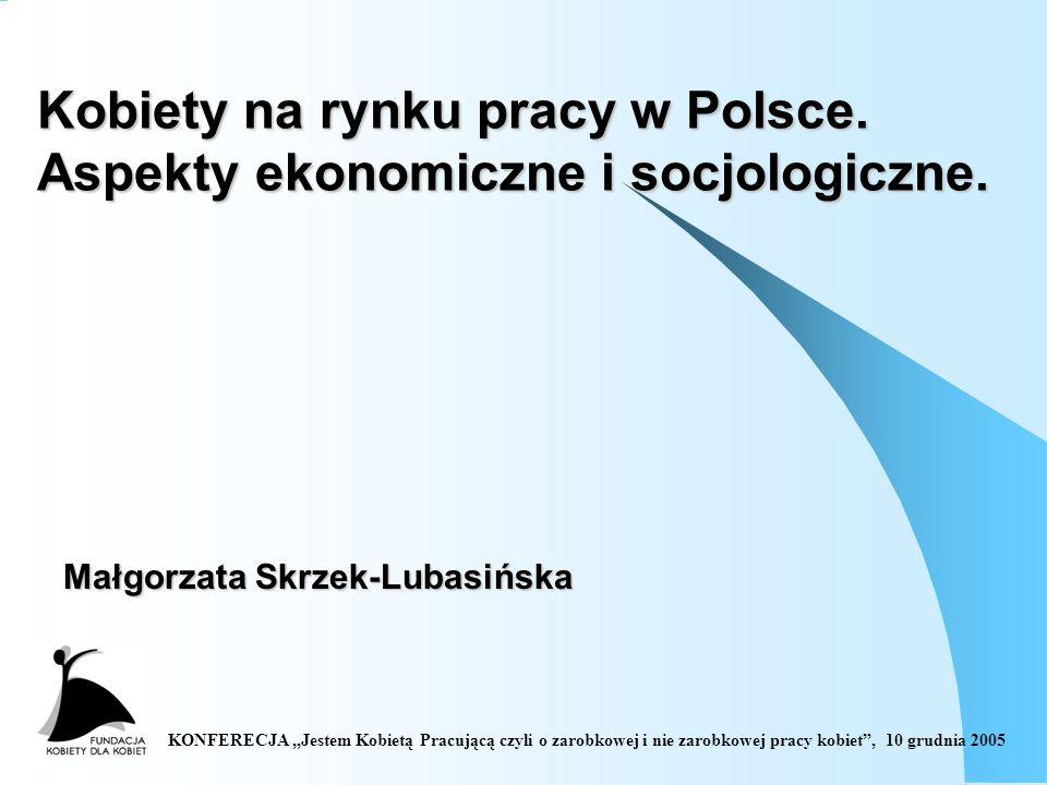 KONFERECJA Jestem Kobietą Pracującą czyli o zarobkowej i nie zarobkowej pracy kobiet, 10 grudnia 2005 Kobiety na rynku pracy w Polsce.