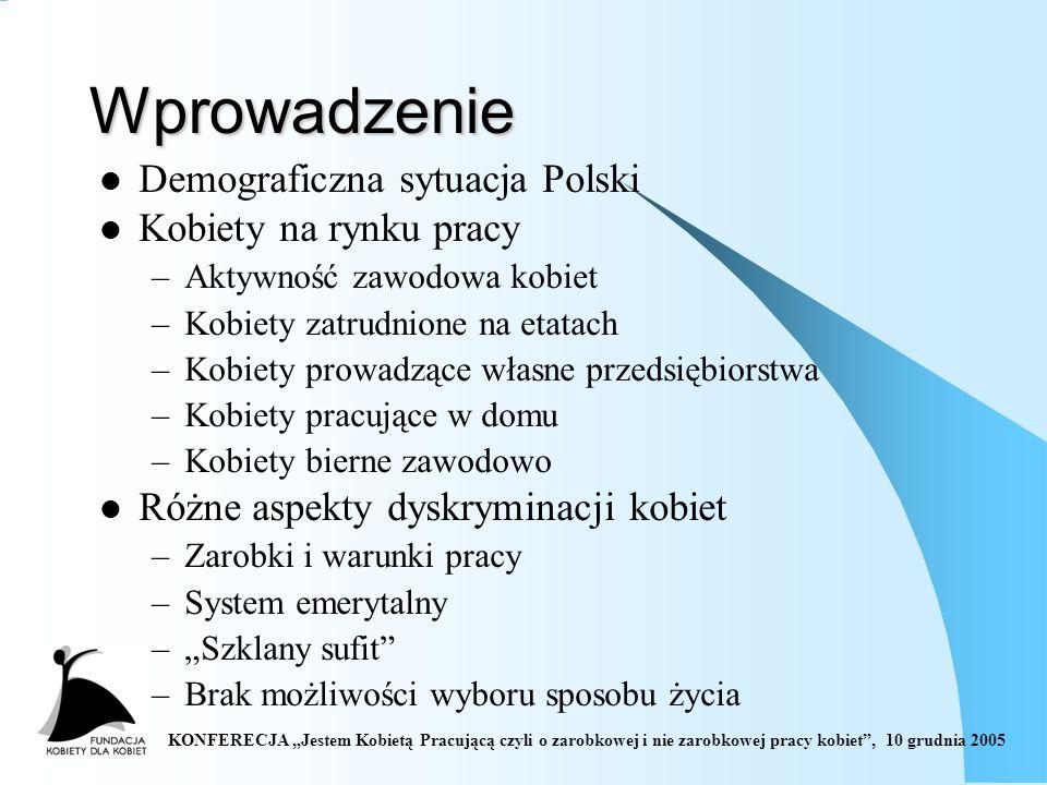 KONFERECJA Jestem Kobietą Pracującą czyli o zarobkowej i nie zarobkowej pracy kobiet, 10 grudnia 2005 Wprowadzenie Demograficzna sytuacja Polski Kobiety na rynku pracy –Aktywność zawodowa kobiet –Kobiety zatrudnione na etatach –Kobiety prowadzące własne przedsiębiorstwa –Kobiety pracujące w domu –Kobiety bierne zawodowo Różne aspekty dyskryminacji kobiet –Zarobki i warunki pracy –System emerytalny –Szklany sufit –Brak możliwości wyboru sposobu życia