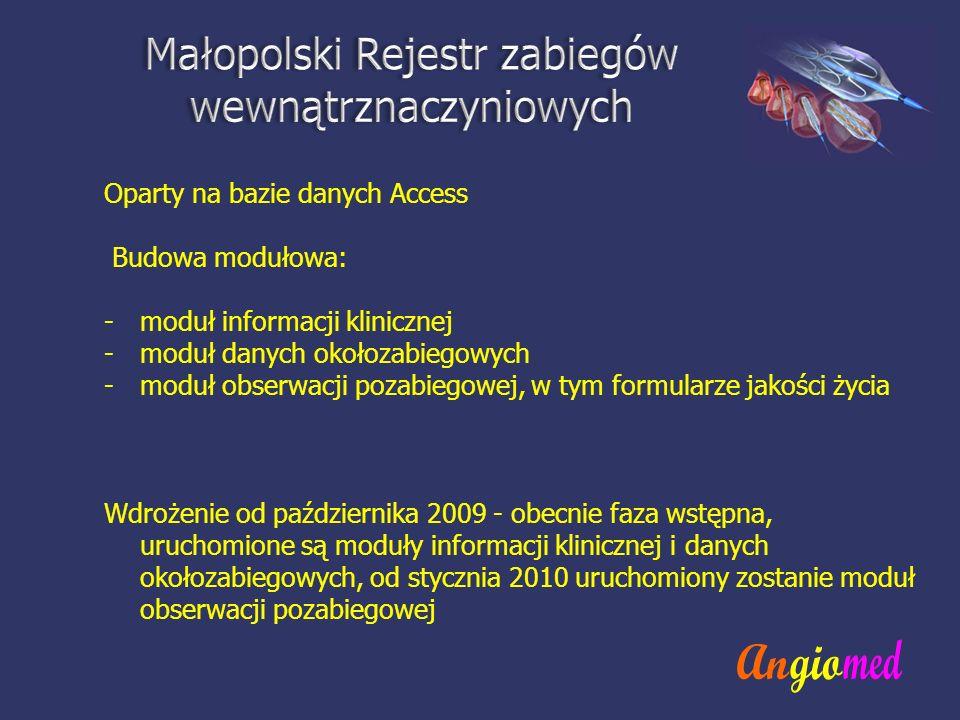 Oparty na bazie danych Access Budowa modułowa: -moduł informacji klinicznej -moduł danych okołozabiegowych -moduł obserwacji pozabiegowej, w tym formu