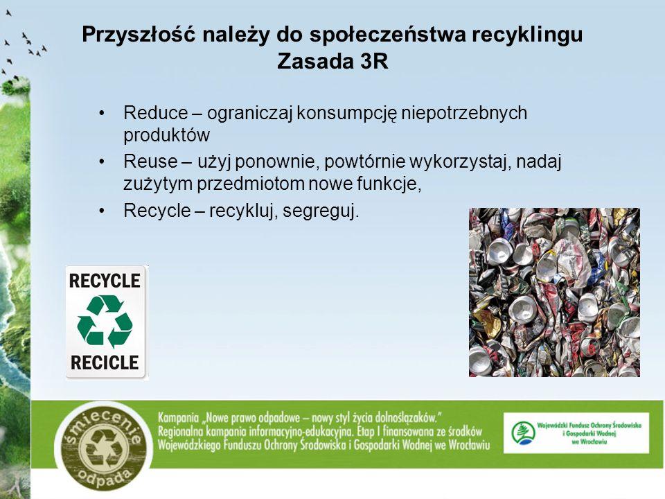 Przyszłość należy do społeczeństwa recyklingu Zasada 3R Reduce – ograniczaj konsumpcję niepotrzebnych produktów Reuse – użyj ponownie, powtórnie wykor