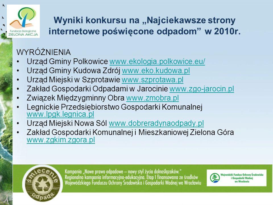 Wyniki konkursu na Najciekawsze strony internetowe poświęcone odpadom w 2010r. WYRÓŻNIENIA Urząd Gminy Polkowice www.ekologia.polkowice.eu/www.ekologi