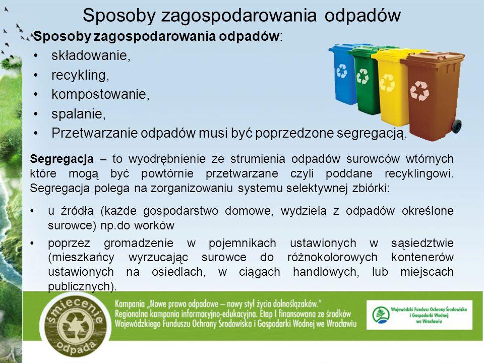Sposoby zagospodarowania odpadów Sposoby zagospodarowania odpadów: składowanie, recykling, kompostowanie, spalanie, Przetwarzanie odpadów musi być pop
