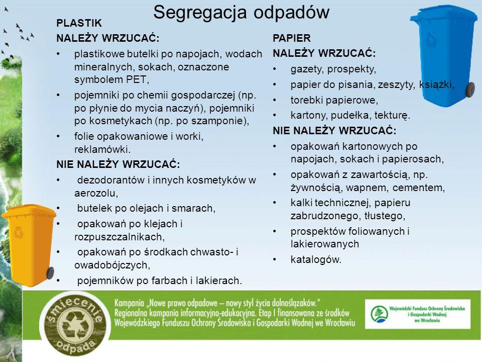 Segregacja odpadów PLASTIK NALEŻY WRZUCAĆ: plastikowe butelki po napojach, wodach mineralnych, sokach, oznaczone symbolem PET, pojemniki po chemii gos