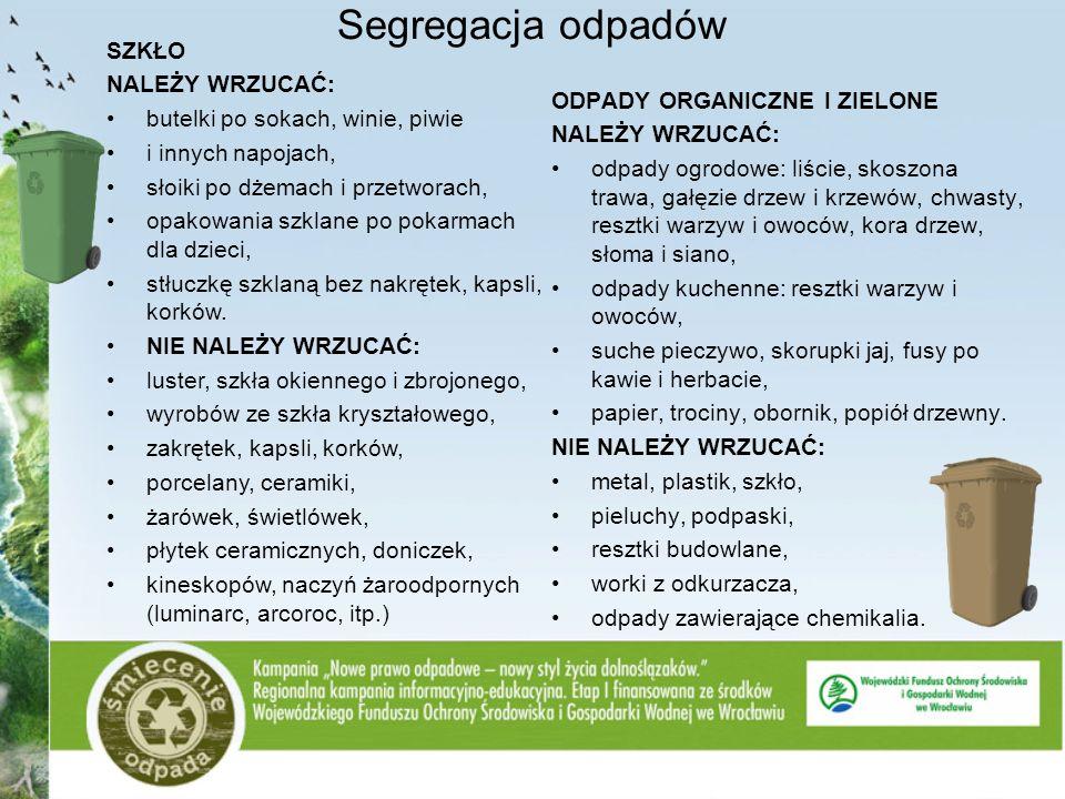 Segregacja odpadów ODPADY ORGANICZNE I ZIELONE NALEŻY WRZUCAĆ: odpady ogrodowe: liście, skoszona trawa, gałęzie drzew i krzewów, chwasty, resztki warz