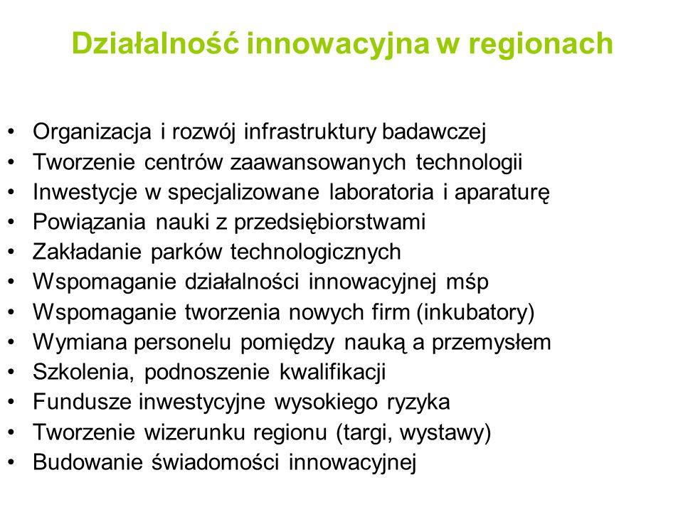 Działalność innowacyjna w regionach Organizacja i rozwój infrastruktury badawczej Tworzenie centrów zaawansowanych technologii Inwestycje w specjalizowane laboratoria i aparaturę Powiązania nauki z przedsiębiorstwami Zakładanie parków technologicznych Wspomaganie działalności innowacyjnej mśp Wspomaganie tworzenia nowych firm (inkubatory) Wymiana personelu pomiędzy nauką a przemysłem Szkolenia, podnoszenie kwalifikacji Fundusze inwestycyjne wysokiego ryzyka Tworzenie wizerunku regionu (targi, wystawy) Budowanie świadomości innowacyjnej