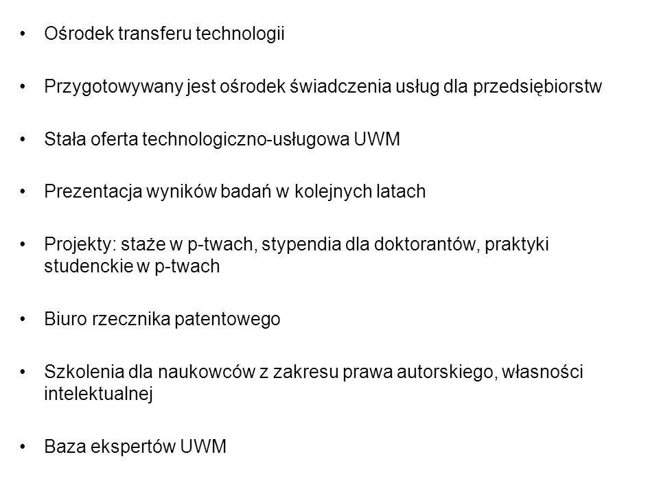 Ośrodek transferu technologii Przygotowywany jest ośrodek świadczenia usług dla przedsiębiorstw Stała oferta technologiczno-usługowa UWM Prezentacja wyników badań w kolejnych latach Projekty: staże w p-twach, stypendia dla doktorantów, praktyki studenckie w p-twach Biuro rzecznika patentowego Szkolenia dla naukowców z zakresu prawa autorskiego, własności intelektualnej Baza ekspertów UWM