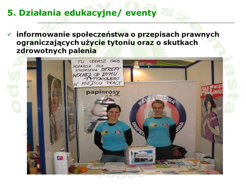 5. Działania edukacyjne/ eventy informowanie społeczeństwa o przepisach prawnych ograniczających użycie tytoniu oraz o skutkach zdrowotnych palenia