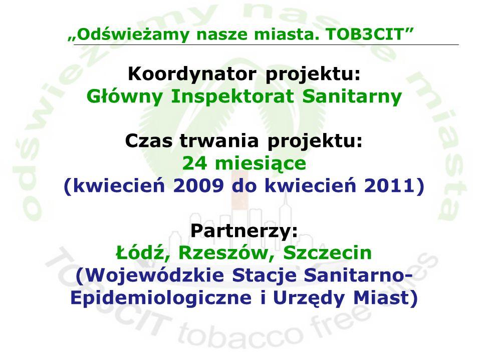 Koordynator projektu: Główny Inspektorat Sanitarny Czas trwania projektu: 24 miesiące (kwiecień 2009 do kwiecień 2011) Partnerzy: Łódź, Rzeszów, Szcze