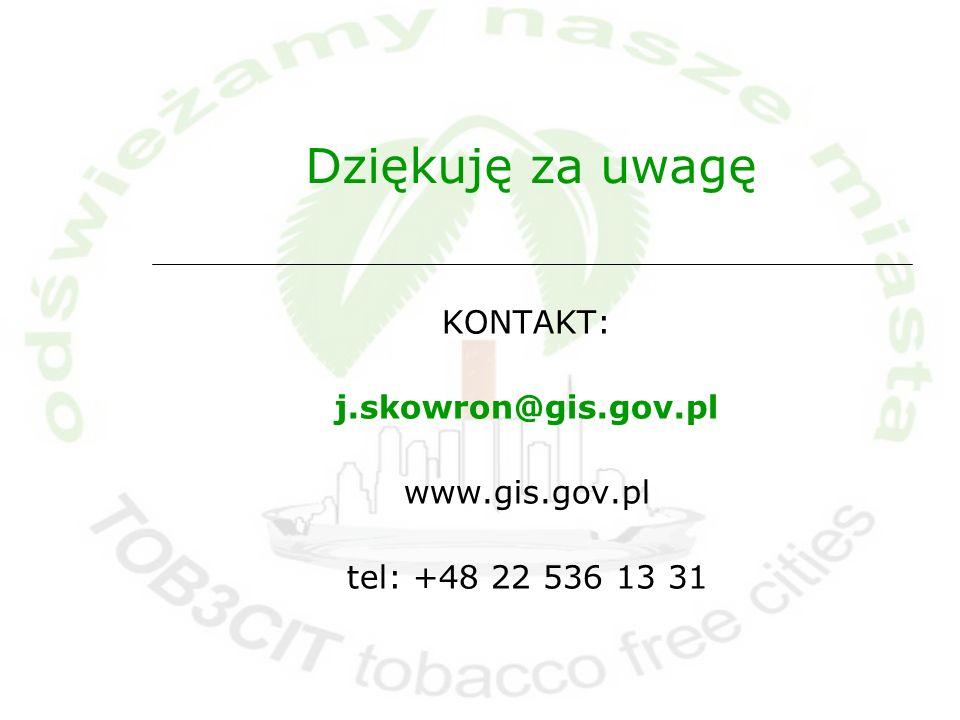 Dziękuję za uwagę KONTAKT: j.skowron@gis.gov.pl www.gis.gov.pl tel: +48 22 536 13 31