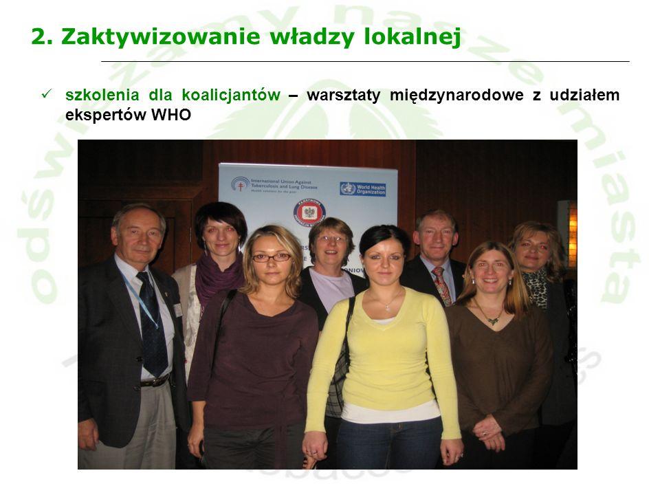 2. Zaktywizowanie władzy lokalnej szkolenia dla koalicjantów – warsztaty międzynarodowe z udziałem ekspertów WHO