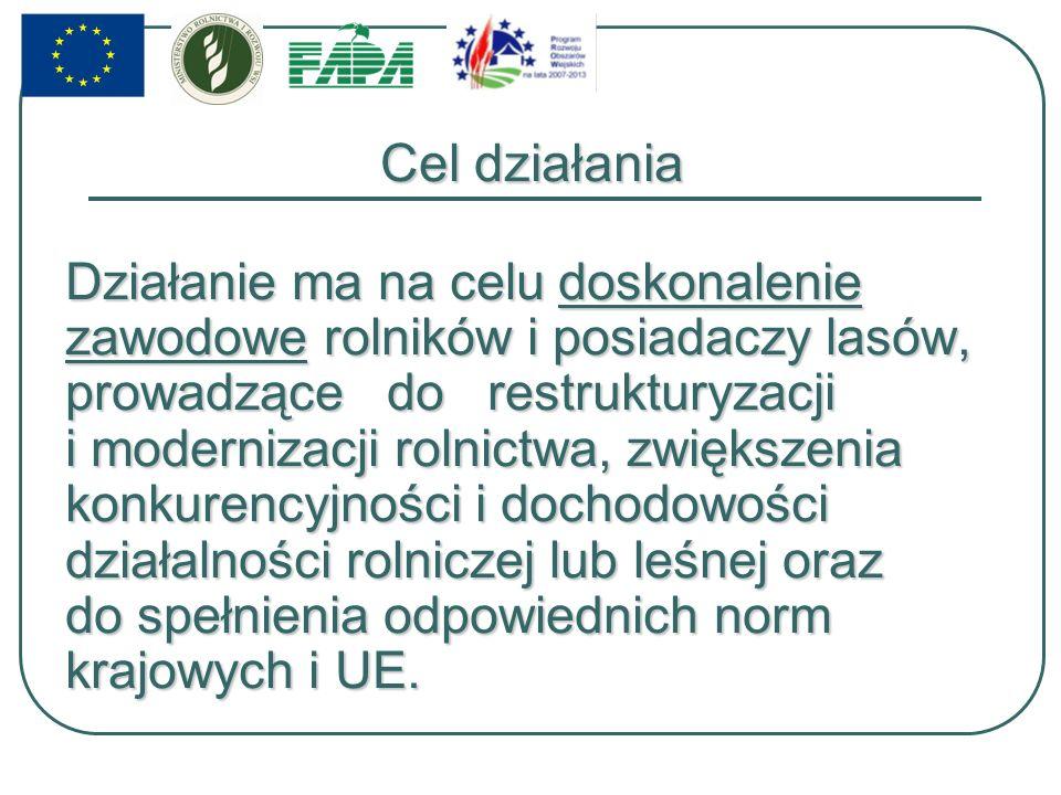 Podmiot wdrażający Od 2009 roku Fundacja Programów Pomocy dla Rolnictwa FAPA pełni funkcję podmiotu wdrażającego dla działania 111 Szkolenia zawodowe dla osób zatrudnionych w rolnictwie i leśnictwie objętego Programem Rozwoju Obszarów Wiejskich na lata 2007-2013.