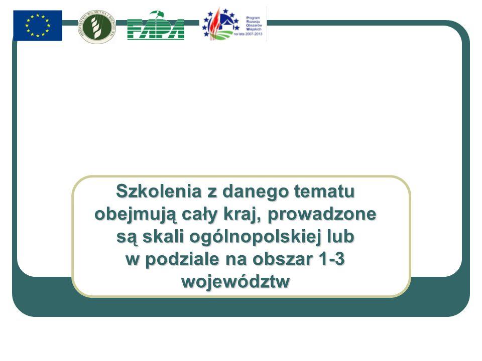 Szkolenia z danego tematu obejmują cały kraj, prowadzone są skali ogólnopolskiej lub w podziale na obszar 1-3 województw